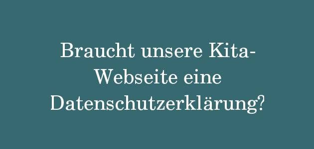 Datenschutzerklärung auf der Kitawebseite
