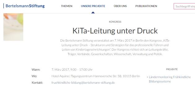 "Wir beim Kongress ""Kita-Leitung unter Druck"" der Bertelsmann-Stiftung"